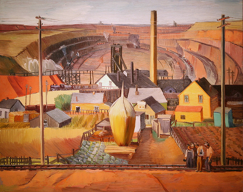 """Northern Minnesota Mine,"" a 1934 painting by E Dewey Albinson, depicts iron mining towns as they formed and appeared in the earlier days of Iron Range mining."
