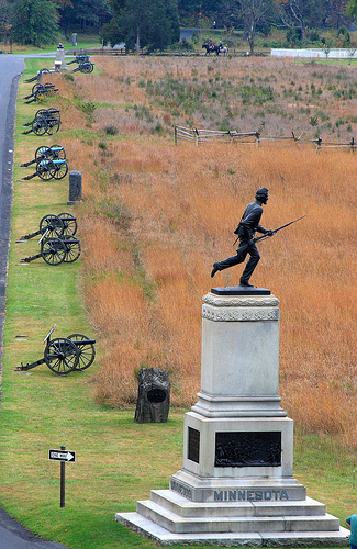 The Minnesota monument at the Gettysburg National Battlefield