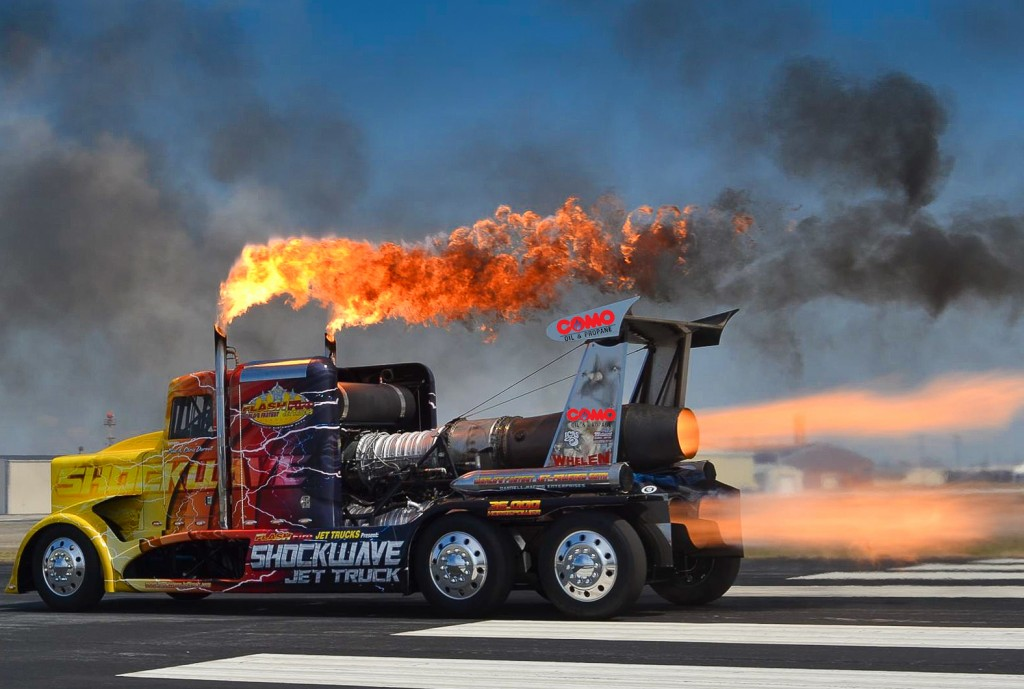 This is Shockwave, a jet-powered semi truck capable of almost 400 mph land travel. You can see SHOCKWAVE at the Duluth Air Show Aug. 23-24, 2014. PHOTO: Duluth Air Show & SHOCKWAVE