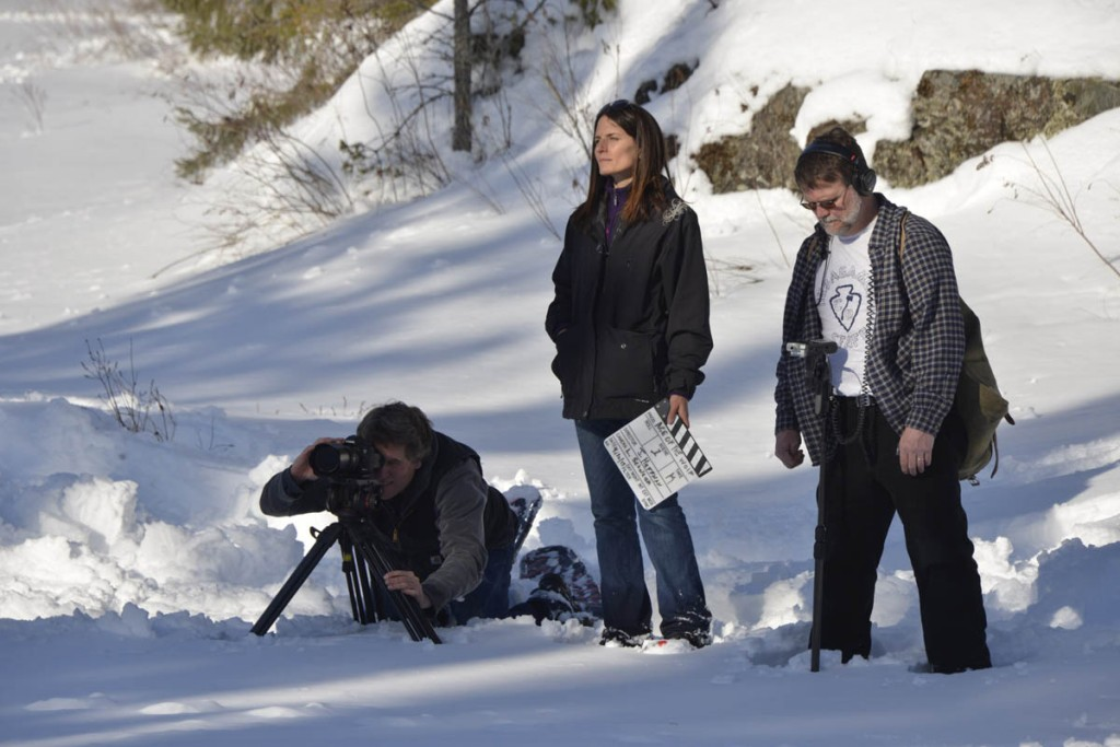 "Director Julia Huffman and crew film scenes for ""Medicine of the Wolf."""