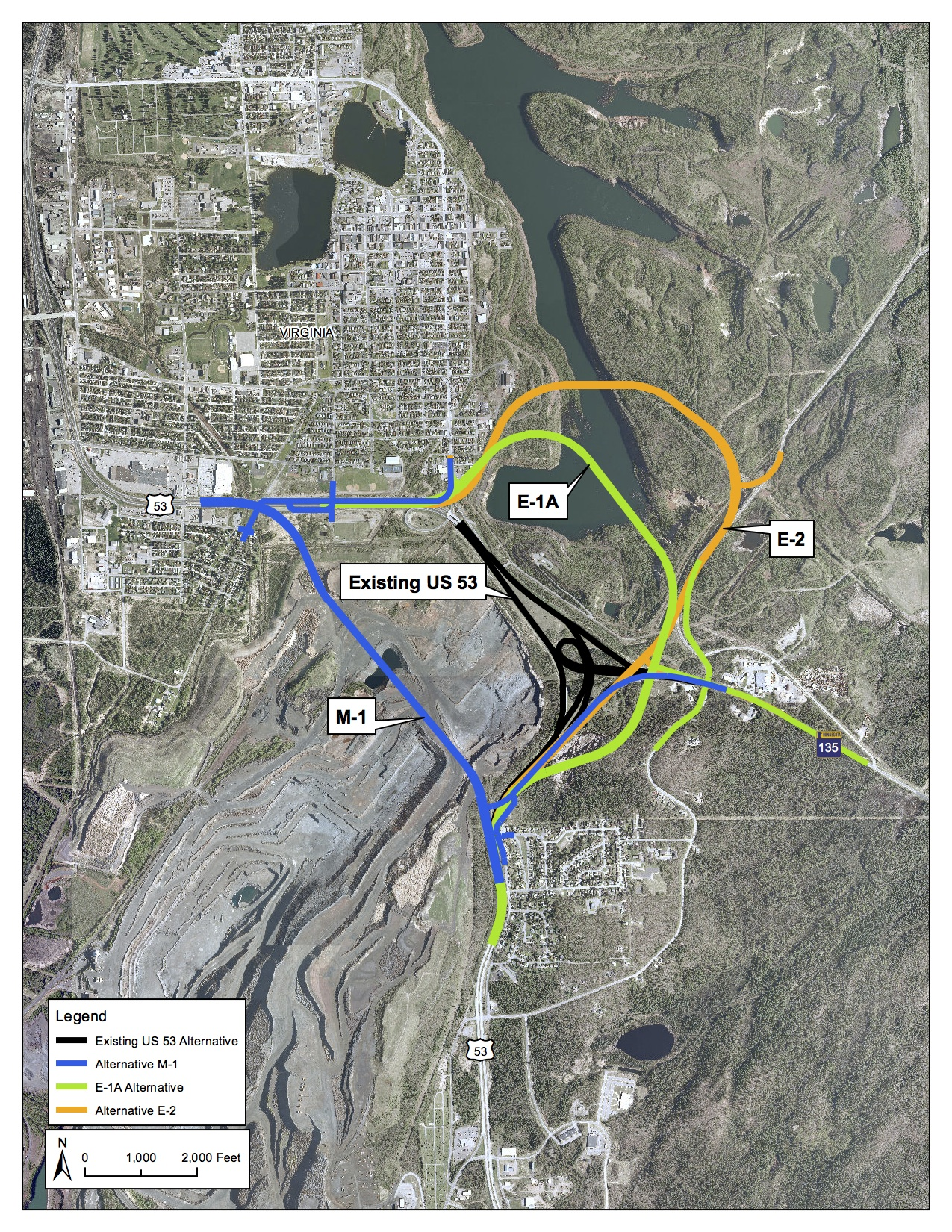Highway 53 reroute options from the Minnesota Department of Transportation