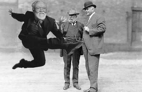 Andrew Carnegie serves James J Hill in danceoff