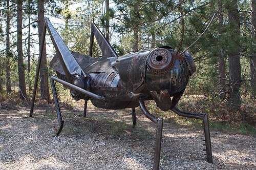 A giant grasshopper sculpture in Kaleva, Michigan, celebrates the Finnish-American legend of St. Urho, an entirely fictional person whose existence was divined to give Finns in the Upper Midwest an extra day to party before St. Patrick's Day.