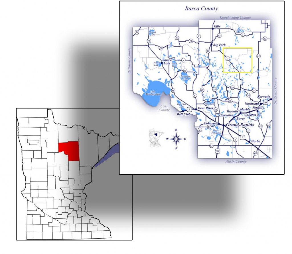 The yellow inset shows the approximate area where crew members from the ill-fated 1945 B-29 training mission landed in the woods and lakes of Itasca County.