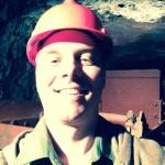 Aaron Brown in an underground mine.