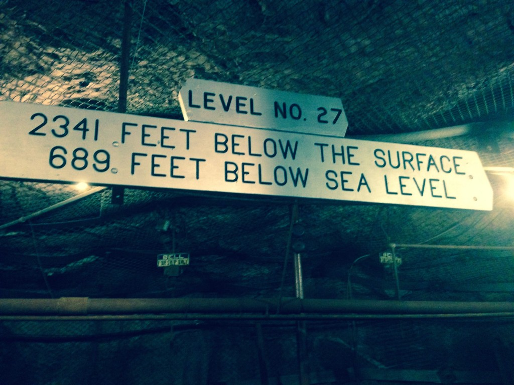 The sign you see when you emerge from the cage at the 27th Level of the Soudan Underground Mine. (Aaron J. Brown)
