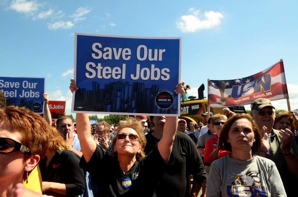 """About 2,000 attendees rallied outside the Miner's Memorial Building in Virginia, Minnesota on June 23 in support of the """"Save Our Steel Jobs"""" rally put on by U.S. Steel, the United Steelworkers and the Alliance for American Manufacturing. The rally was protesting the dumping of foreign steel into the American marketplace at far below market value."""