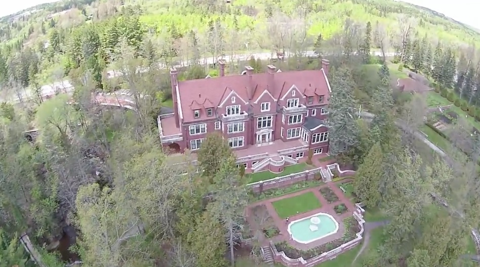 Duluth's historic Glensheen Mansion as seen in a recent fly-over video of the popular tourist destination.