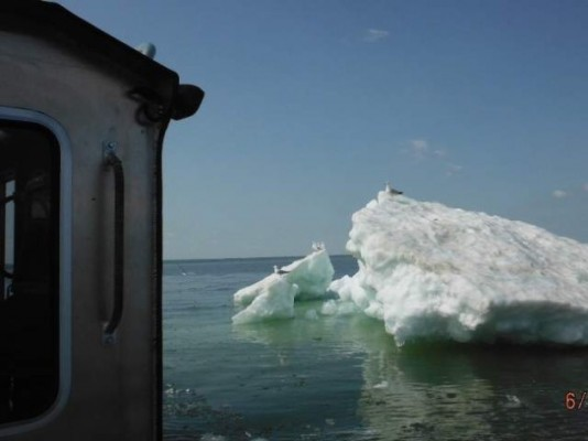 A June iceberg discovered by the Wisconsin DNR.