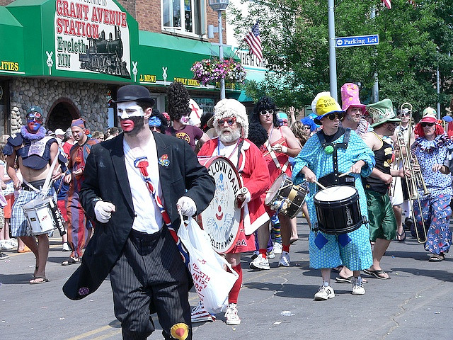 The Eveleth Clown Band performs during the July 4, 2008 Eveleth Fourth of July parade on the Iron Range. PHOTO: M.C. Morgan, Creative Commons license