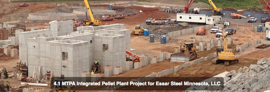 The Essar Steel project in Nashwauk has progressed since this photo taken last year, but is now at a standstill as the company irons out its half-billion dollar financing woes. PHOTO: Hammerlund Construction
