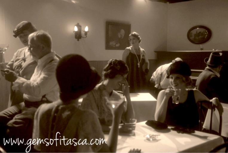 This screenshot from the film series Gems of Itasca shows a reenactment of a popular speakeasy in Bovey, Minnesota, a western Iron Range town where the night life stayed wild all through Prohibition.