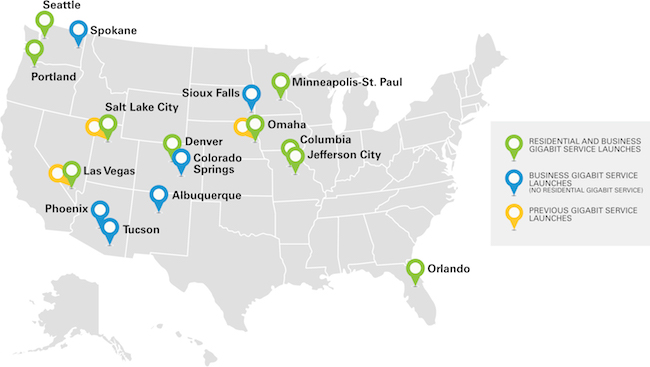 Metro areas receiving the new 1-gig-per-second service. IMAGE: CenturyLink