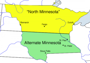 Today in Alt-History: North Minnesota and South Minnesota