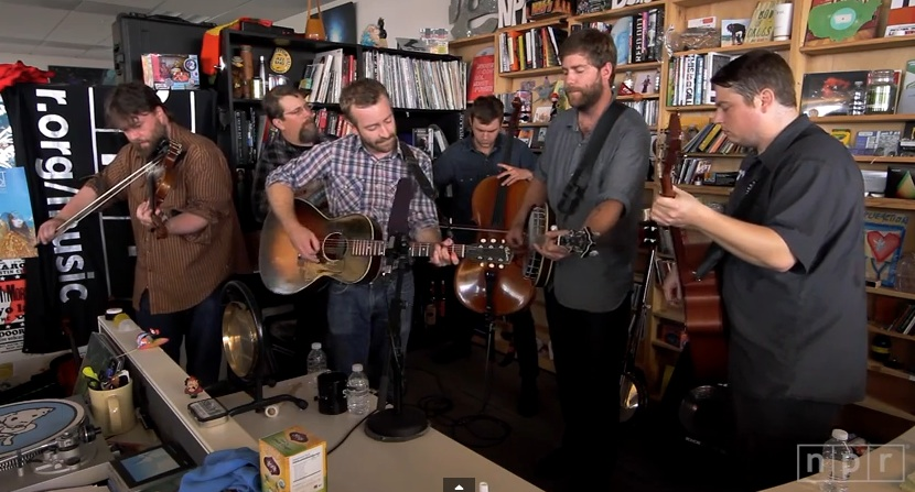 "Trampled by Turtles performs on National Public Radio's ""Tiny Desk"" concert series. (screenshot)"