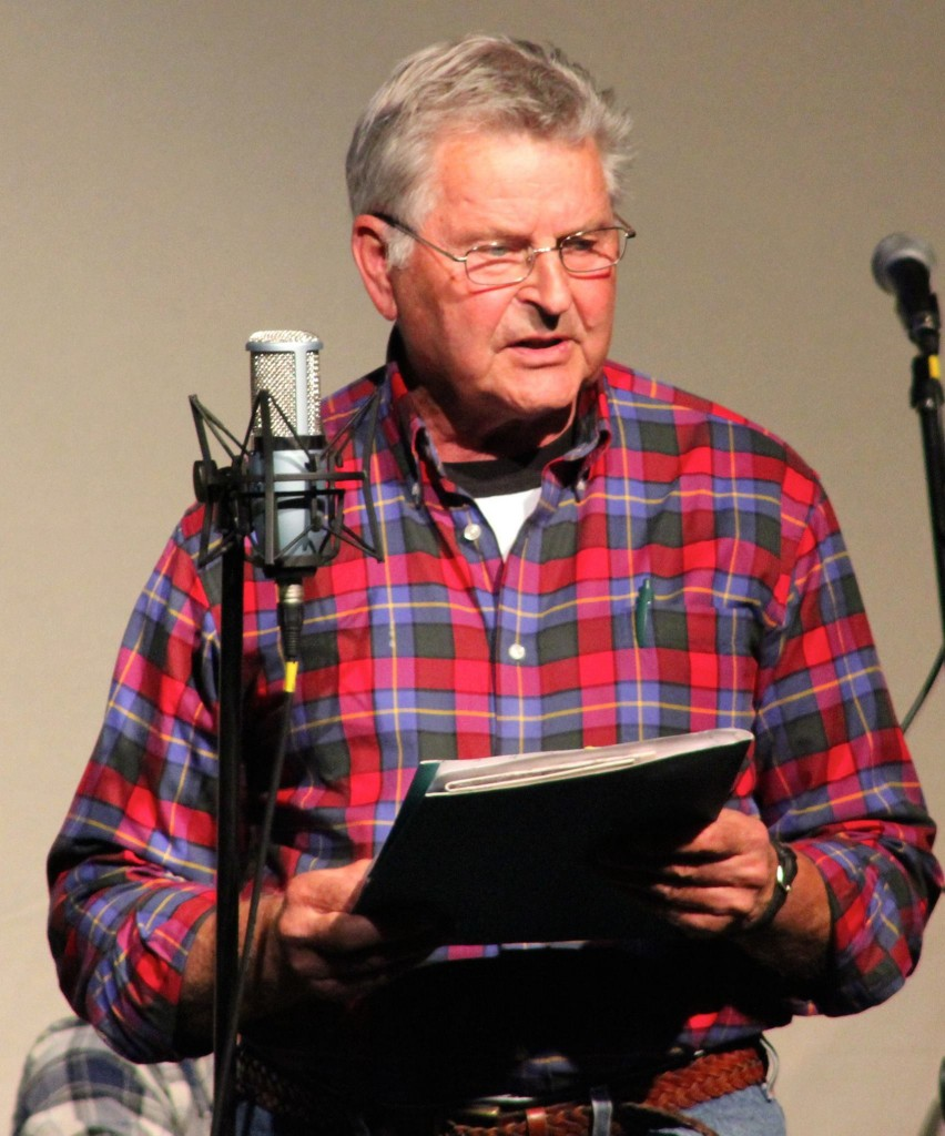 "Storyteller and writer Jerry Mevissen shared some of his ""Nimrod Chronicles"" and other works during the Sept. 27, 2014 Great Northern Radio Show in Park Rapids, Minnesota (PHOTO: Grant Frashier)"