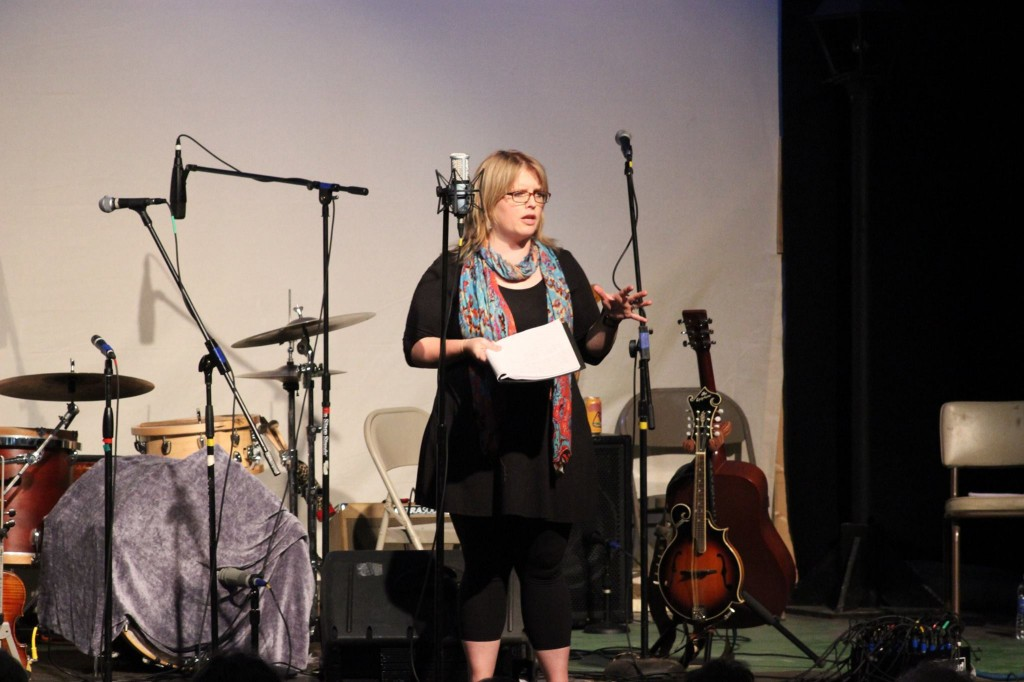 Heidi Holtan, Northern Community Radio program director, stepped in as stage director for the Sept. 27, 2014 Great Northern Radio Show in Park Rapids, Minnesota.