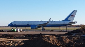 Air Force Two prepares for takeoff at the Range Regional Airport in Hibbing after Vice President Joe Biden spoke at Hibbing Community College on Oct. 23, 2014. (PHOTO: Rich Puhek)