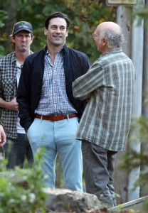 Actor Jon Hamm, seen here talking with Larry David, will be in Duluth today with Sen. Al Franken. (PHOTO: Creative Commons)