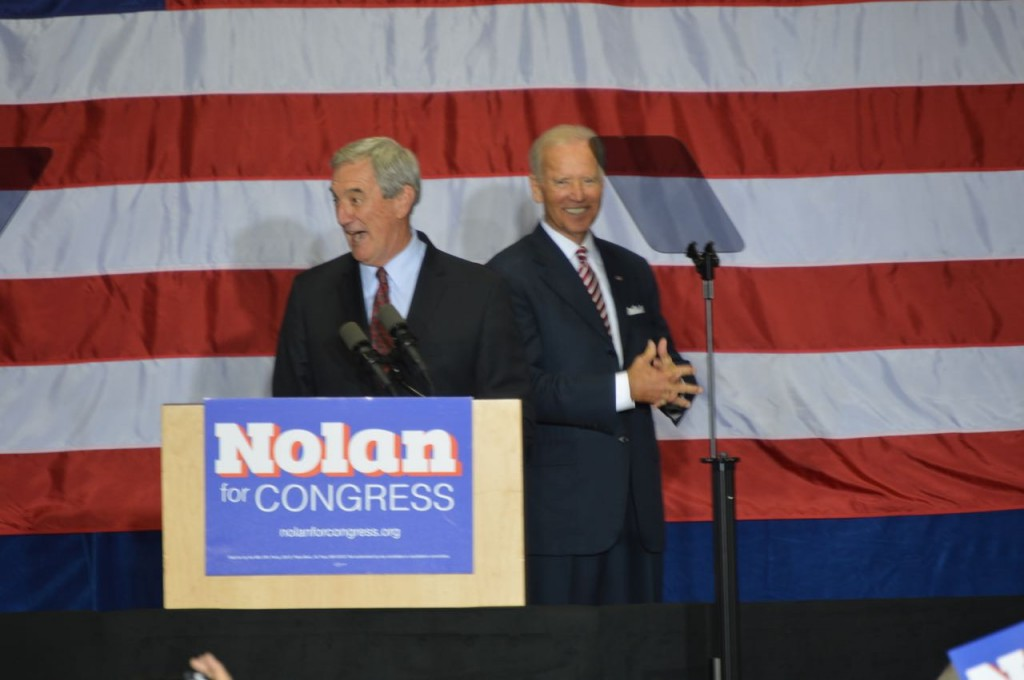 Rep. Rick Nolan speaks with Vice President Joe Biden on stage at Hibbing Community College (PHOTO: Aaron J. Brown)
