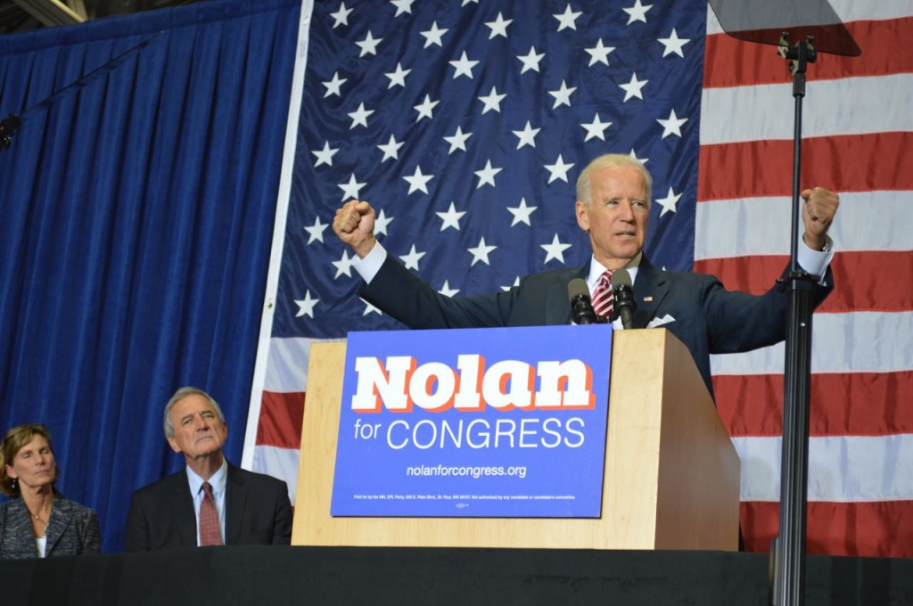 Vice President Joe Biden speaks at Hibbing Community College on Oct. 23, 2014, in support of Rep. Rick Nolan (D-MN8). (PHOTO: Aaron J. Brown).