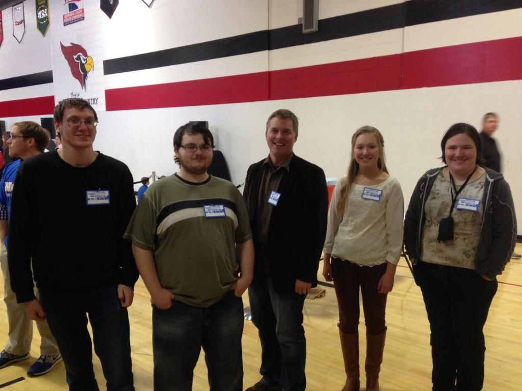 "HCC's ""news team"" for the Joe Biden visit. (L to R) Travis Kutzler, Dustin Wittstruck, myself, Valerie Sandstorm and Sara Wedell."