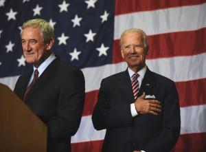 U.S. Rep. Rick Nolan with Vice President Joe Biden at Hibbing Community College. (PHOTO: Kendal Killian, Nolan campaign)