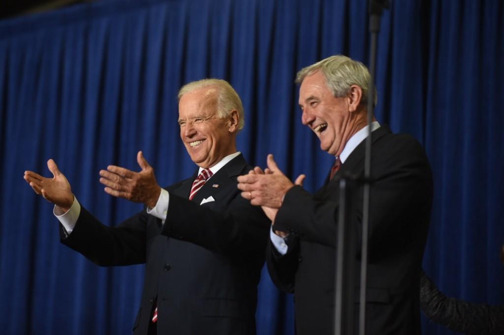Vice President Joe Biden with Rep. Rick Nolan at Hibbing Community College on Oct. 23, 2014 (PHOTO: Kendal Killian, Nolan campaign)
