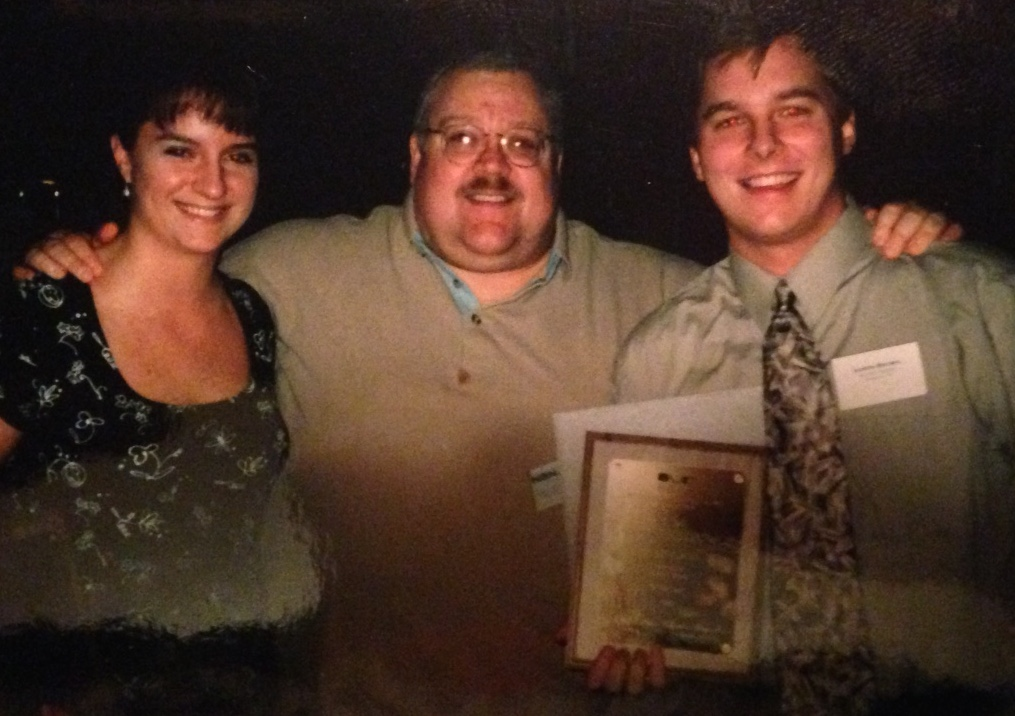 The 1999 Northwest Broadcast News Association awards banquet. Here I am with Mike and Jenny Moravchik. We cleaned up in the student category that night. Mike's kids always did.