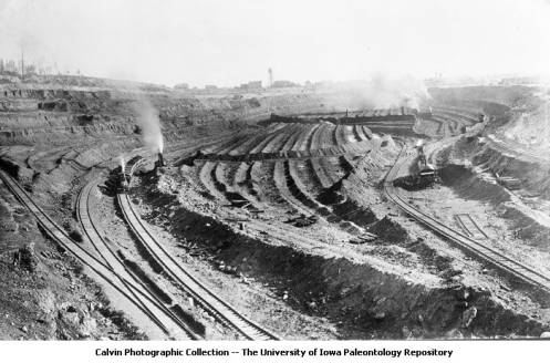 This archival picture from the University of Iowa collection shows one of the mines at Mountain Iron in the late 1890s or early 1900s.