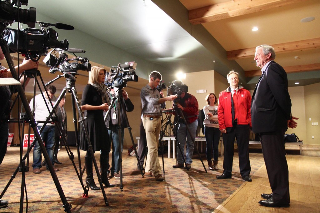 Rick Nolan speaks to reporters on Election Night, Nov. 4, 2014 (PHOTO: Nolan campaign)