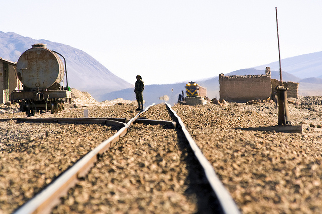 A narrow gauge railroad operated by Antofagasta Chile and Bolivia Railroad on the Bolivia/Chile border serves mining fields throughout the region. Antofagasta Mining has taken full ownership of Twin Metals, one of the nonferrous mining projects under consideration in Northern Minnesota, further globalizing a local controversy. (PHOTO: Dimitry B, Creative Commons)