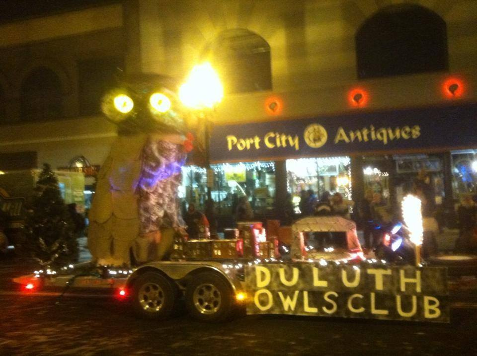 A grainy, mysterious phot of an owly mysterious parade float in the Christmas City of the North Parade in Duluth, Minnesota. (PHOTO: Duluth Owls Club)