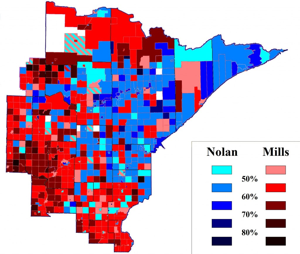 In this Minnesota's Eighth Congressional District precinct map, Duluth and the Range hold blue while Brainerd Lakes and southern exurbs stay deep red. (GRAPHIC: Chris Saunders)