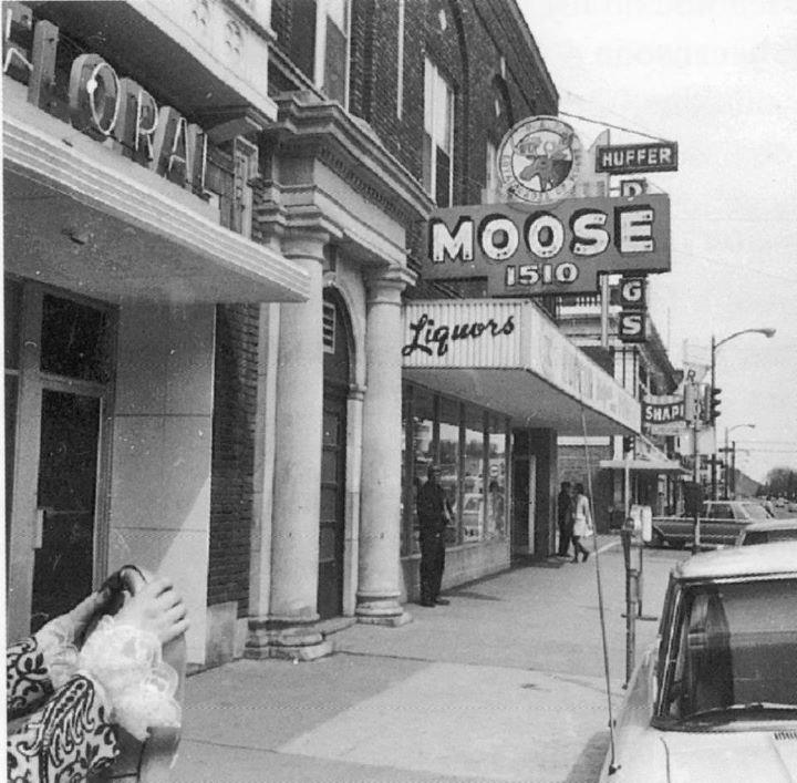 A street scene from Hibbing, Minnesota, in 1956, when Lee's father first worked as an anesthetist at Hibbing General Hospital.