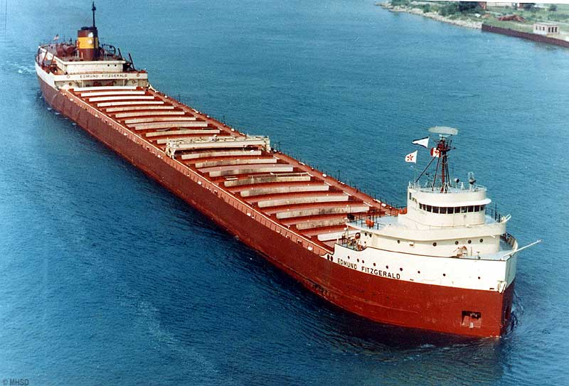 The iron ore carrier Edmund Fitzgerald sank in a Lake Superior gale on Nov. 10, 1975.