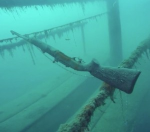 Screen shot from a Curtis Lahr Go-Pro video taken underwater in the Tioga Mine Pit near Grand Rapids, Minnesota.