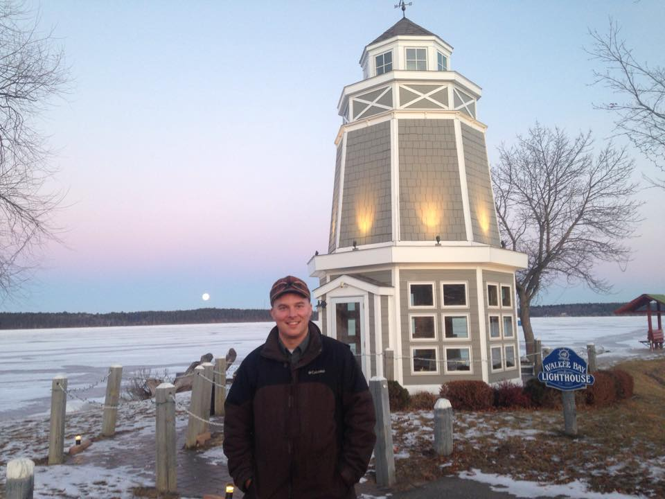 Great Northern Radio Show host and producer (and your friendly blogger at MinnesotaBrown) stands on the shores of Walker Bay on Leech Lake the night before his show broadcasts live from Northern Lights Casino on Northern Community Radio. (PHOTO: Christina Brown)