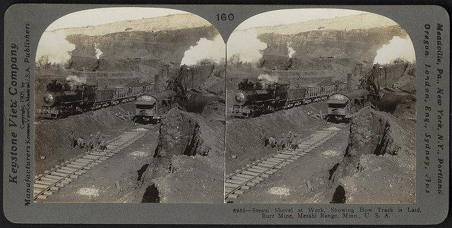 1905 stereograph print of Burt Mine on Mesabi Iron Range (Boston Public Library, Creative Commons)