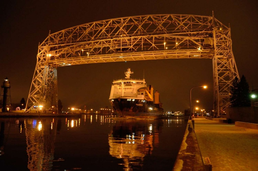 The Antigua-flagged vessel Palmerton was the last salty to leave the Port of Duluth and Superior in 2014. (PHOTO: Duluth-Superior Port Authority)
