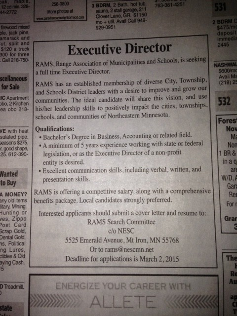 RAMS Executive Director job posting