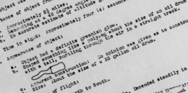 Screen shot from 1950 U.S. Air Force report on UFO sighting in Hibbing, Minnesota.
