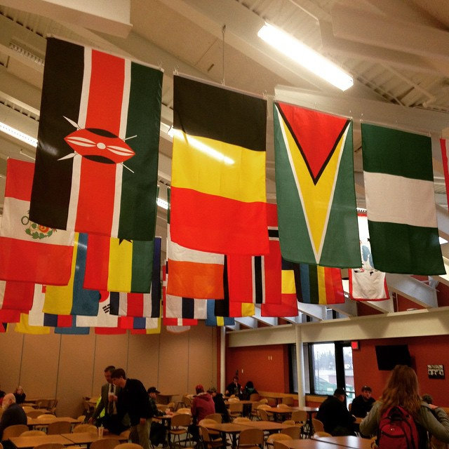 Flags hang from the rafters of the commons at Hibbing Community College. Each flag represents a nation of origin for at least one student at the college. (PHOTO: Aaron J. Brown)