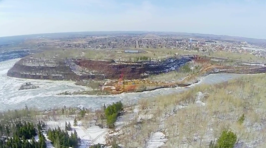 Aerial footage shows where the state's tallest bridge will span the Rochleau Pit in the $240 million Highway 53 relocation project on Northern Minnesota's Iron Range. (PHOTO: Screen shot from drone footage by Terry Hartikka)