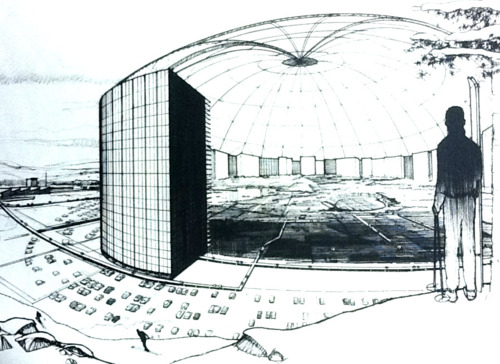An artist's rendition of the Minnesota Experimental City proposed near Swatara in the early 1970s.