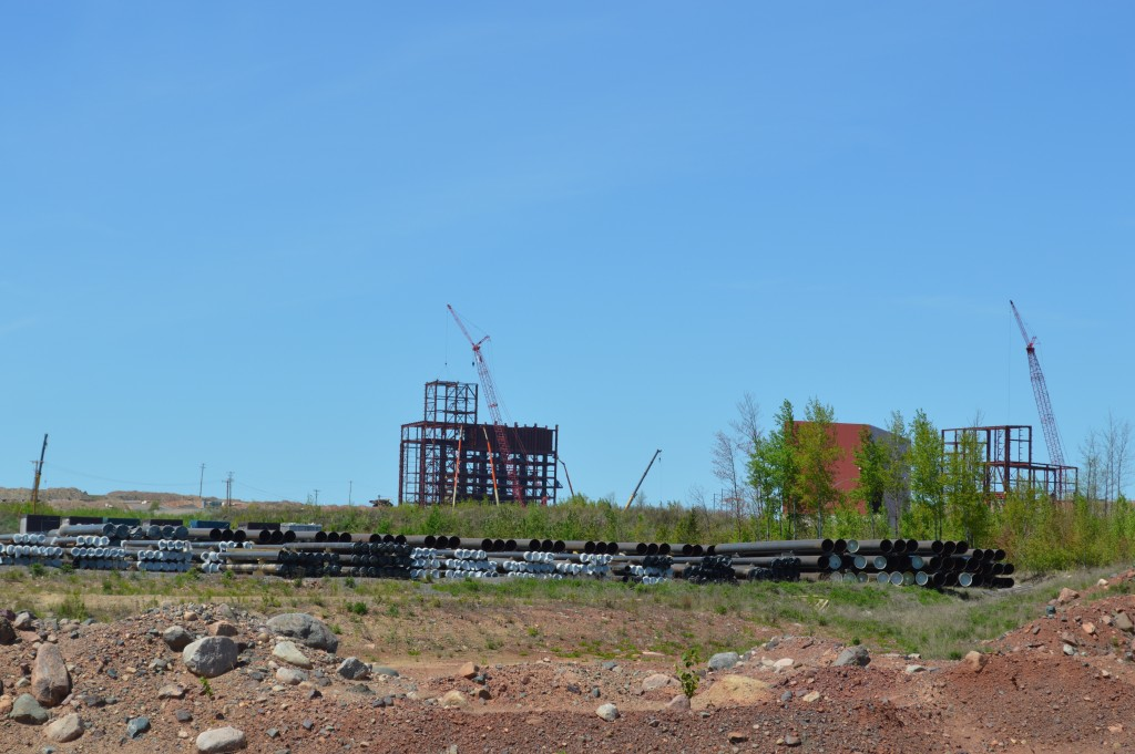 The primary crusher plant under construction at Essar Minnesota's Nashwauk project as seen from the edge of the mining field. Company officials say that the plant's close proximity to the ore body will add tremendous efficiency to its operations. (Aaron J. Brown)