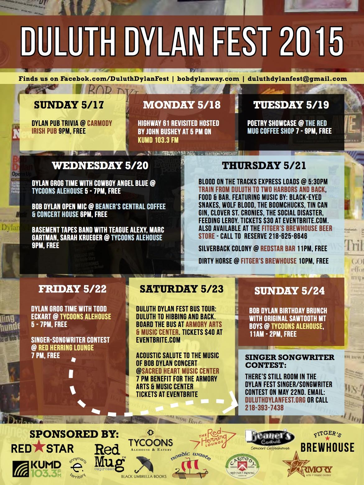 Duluth Dylan Fest Schedule 2015sm
