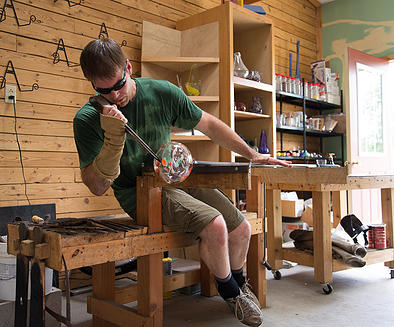 The Ely Folk School will open June 6, 2015, offering a wide variety of skills-based classes including glass-blowing by Todd Hohenstein. (PHOTO: Pure Joy Photography via Ely Folk School website)