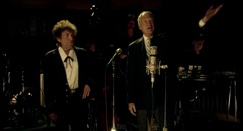 "Bob Dylan stands next to David Letterman after performing ""The Night We Called It a Day"" on Letterman's second-to-last show May 19, 2015. (screenshot)"