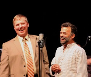 Host Aaron Brown and explorer Lonnie Dupre of Grand Marais enjoy a laugh during the June 13, 2015 Great Northern Radio Show (PHOTO: Grant Frashier)